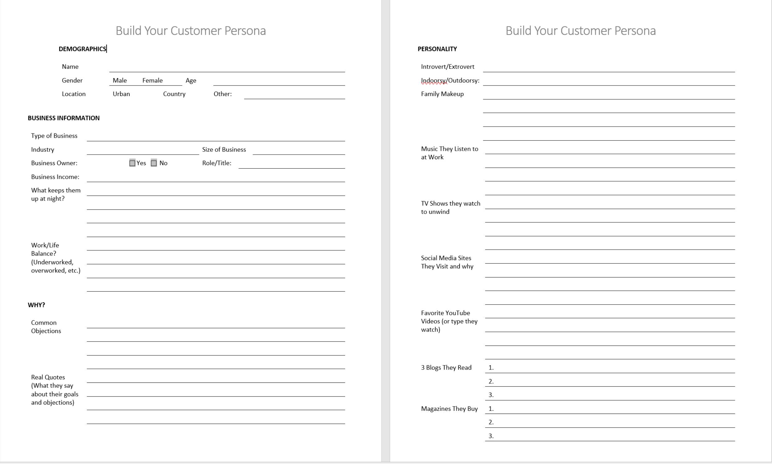 customer persona template jeannie ruesch